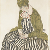 Egon Schiele, Edith Schiele in a Striped Dress, Sitting, 1915 © Leopold Museum, Vienna, Inv. 4147