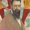 Cuno Amiet, Portrait of Ferdinand Hodler in front of his Marignano-painting, 1898 © Kunstmuseum Solothurn, Dübi-Müller-Stiftung, Photo: Kunstmuseum Solothurn © M. u. D. Thalmann, CH-3360 Herzogenbuchsee