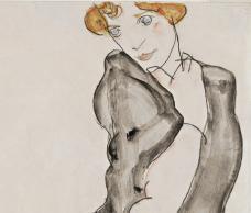 Egon Schiele Kniende mit grauem Umhang  (Wally Neuzil), 1912 © Leopold Museum, Wien, Inv. 2350