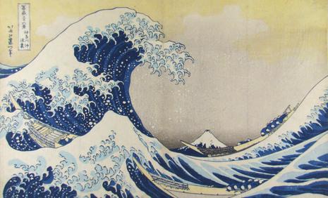 Katsushika Hokusai, Unter der Welle bei Kanagawa, aus der Serie: 36 Ansichten des Berges Fuji, um 1830 © Sammlung Leopold II