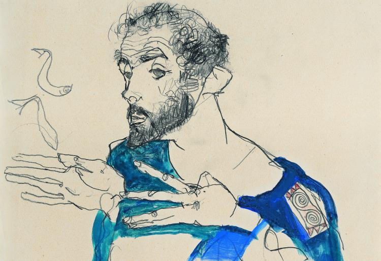 Egon Schiele, Gustav Klimt in Blue Smock, 1913 © Private Collection