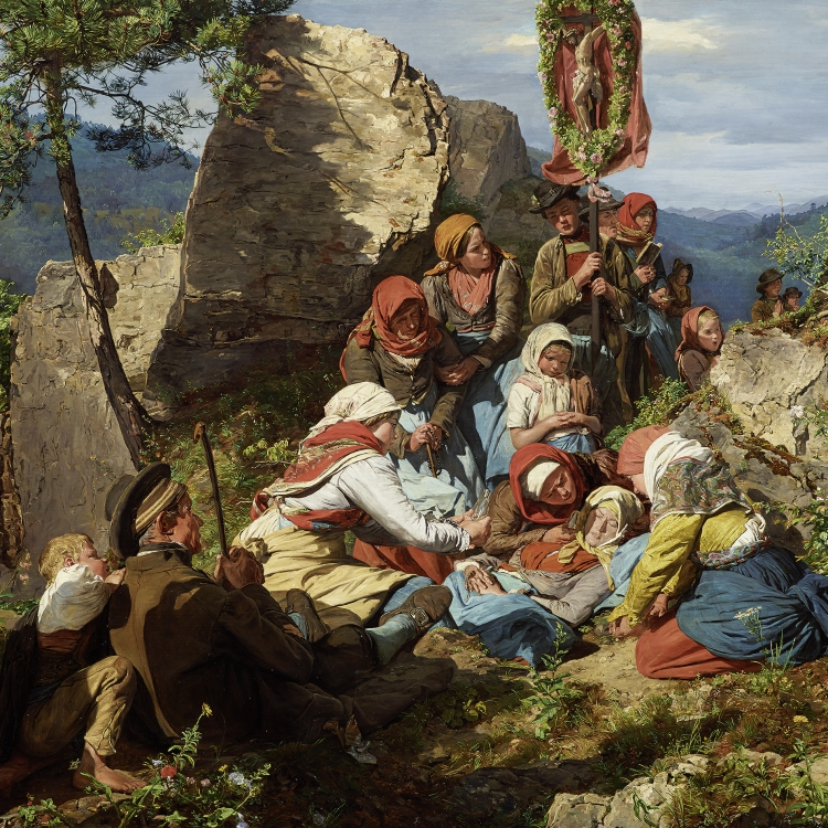 "Ferdinand Georg Waldmüller, The Interrupted Pilgrimage (""The Sick Pilgrim), 1858 © Leopold Museum, Vienna, Inv. 481"