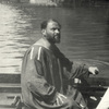 Gustav Klimt in a rowboat at the lake Attersee, c. 1910. Photograph by Richard Teschner or Emma Teschner. © Privatbesitz / Private Collection; IMAGNO/Austrian Archives