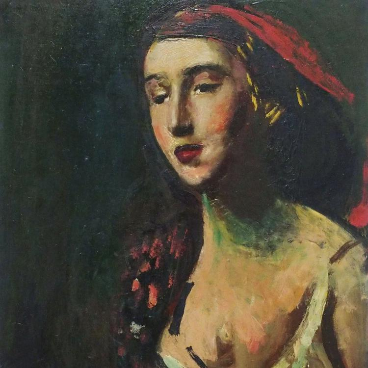 Josef Dobrowsky | Dame mit rotem Kopftuch | 1952 © Leopold Museum, Wien, Inv. 59