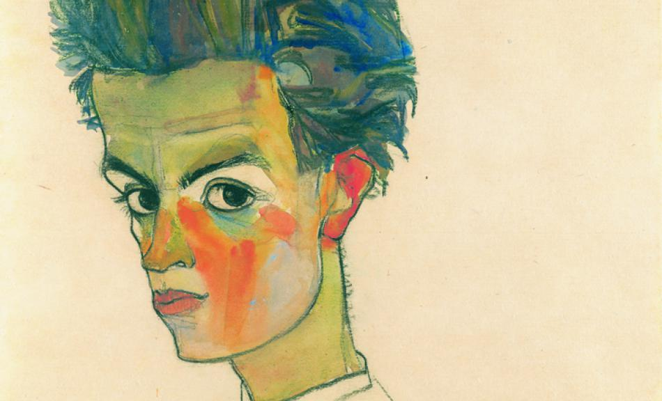 Egon Schiele, Self-Portrait with Striped Shirt, 1910 © Leopold Museum, Vienna, Inv. 1458