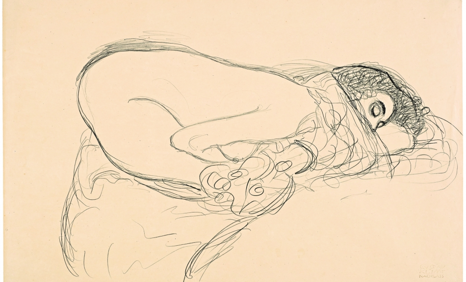Female Semi-Nude from the Right in Kneeling-Cowering Position. Study for »Leda«, 1913/14 © Leopold Museum, Vienna, Inv. 1375