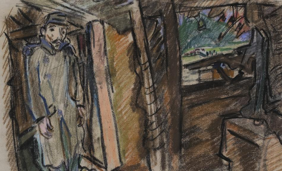 Oskar Kokoschka, Projektionsgewehr in eingedeckter Stellung, 1916 © Schwarze Kreide, Farbkreide auf Papier, 32,2 × 48,2 cm / Black chalk, colored chalk on paper Leopold Museum, Wien, Inv. 4674 © Fondation Oskar Kokoschka/Bildrecht, Wien 2014