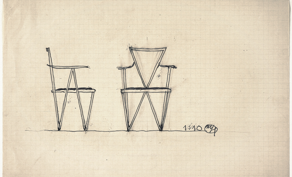 JOSEF HOFFMANN, Draft for an armchair with triangular shape, c. 1905 © Leopold Museum, Inv. 1190