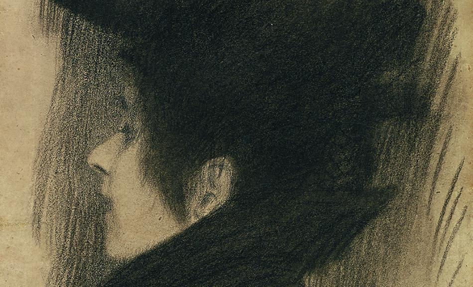 GUSTAV KLIMT, Bust Portrait of a Young Lady with Hat and Cape in Profile from the Left, 1897/98 © Leopold Museum, Vienna, Inv. 1309