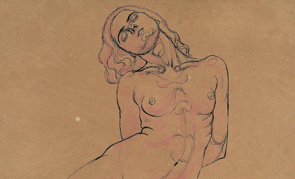 KOLOMAN MOSER, Seated Female Nude. Study for the painting »Three Huddling Women«, c. 1914 © Leopold Museum, Vienna, Inv. 2686