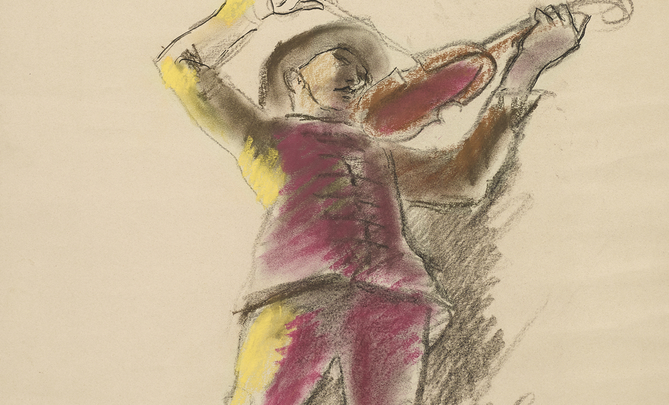 ANTON FAISTAUER, Violinist. Study for »Diana Returning from the Hunt«. Ceiling fresco for the Ledererschlössel in Weidlingau near Vienna, 1929 © Leopold Museum, Vienna