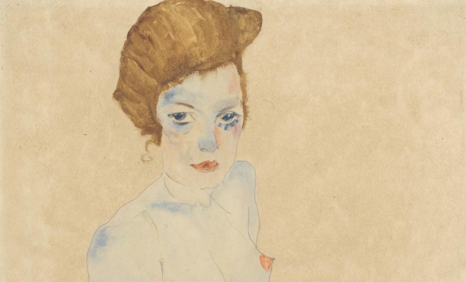 Egon Schiele, Sitting young woman, half nude with blue skirt, 1911 © Sammlung Gemeentemuseum Den Haag, Phot: Collection Gemeentemuseum Den Haag