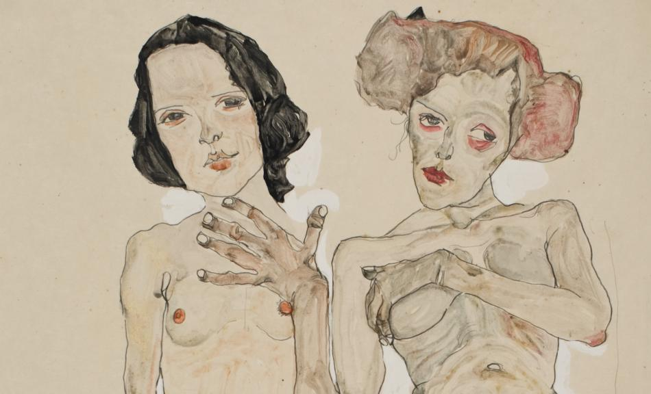 Egon Schiele, Two Naked Girls with Black Stockings, 1910 © Private Collection Vienna, Photo: Private Collection Vienna
