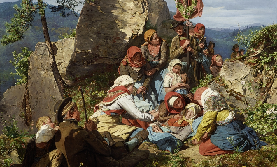 "Ferdinand Georg Waldmüller, The Interrupted Pilgrimage (""The Sick Pilgrim""), 1858 © Leopold Museum, Vienna, Inv. 481"
