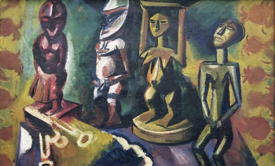 MAX PECHSTEIN, Still Life with Negro Statues | 1918 © Private collection/permanent loan from the Stiftung Schleswig-Holsteinische Landesmuseen Schloss Gottorf © Pechstein Hamburg/Tökendorf/Bildrecht, Wien, 2015