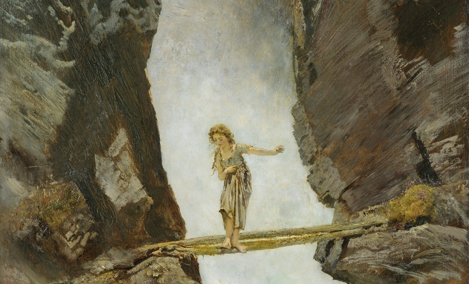 ANTON ROMAKO, GIRL CROSSING A MOUNTAIN TORRENT, 1880/1882 © Leopold Museum, Vienna/Photo: Manfred Thumberger