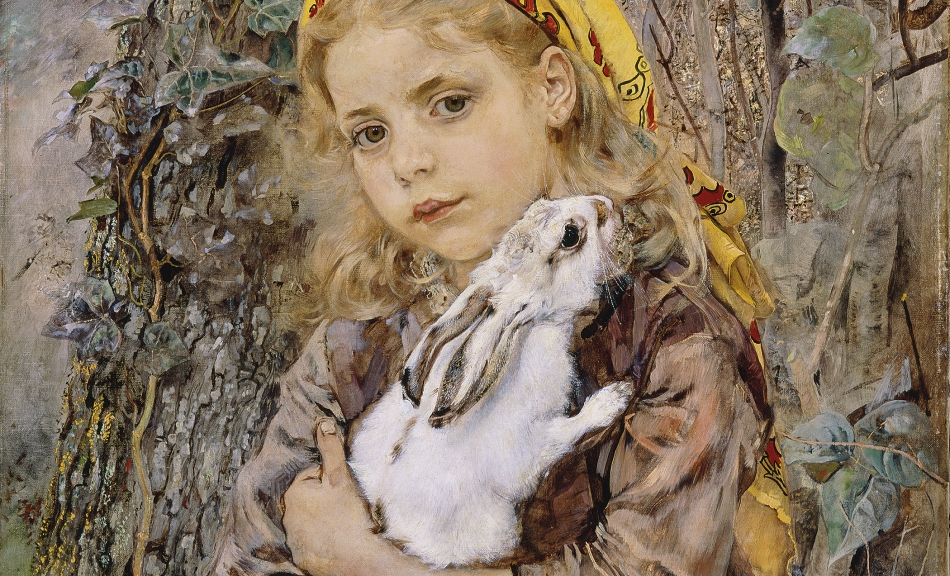 ANTON ROMAKO, GIRL HOLDING A RABBIT, 1885 © Collections of the Federal State of Lower Austria/Photo: Collections of the Federal State of Lower Austria, Peter Böttcher
