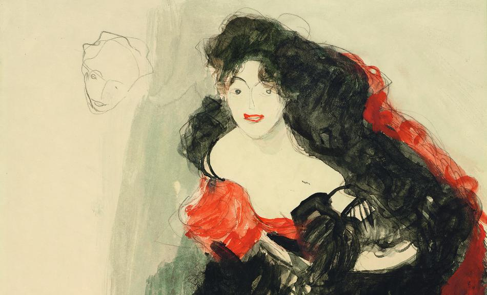 "GUSTAV KLIMT | Dancer ina Flamenco Costume, Lower left: Study for "" Judith II (Salome)"" 