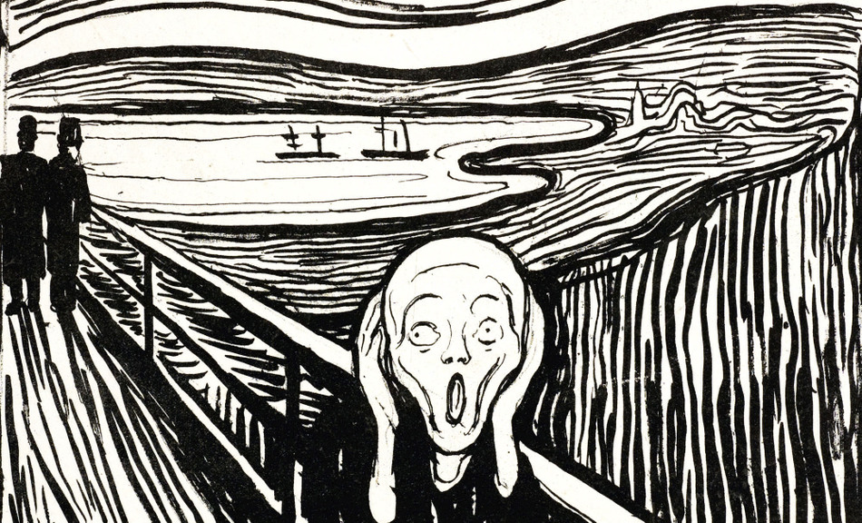 Image result for the scream black and white
