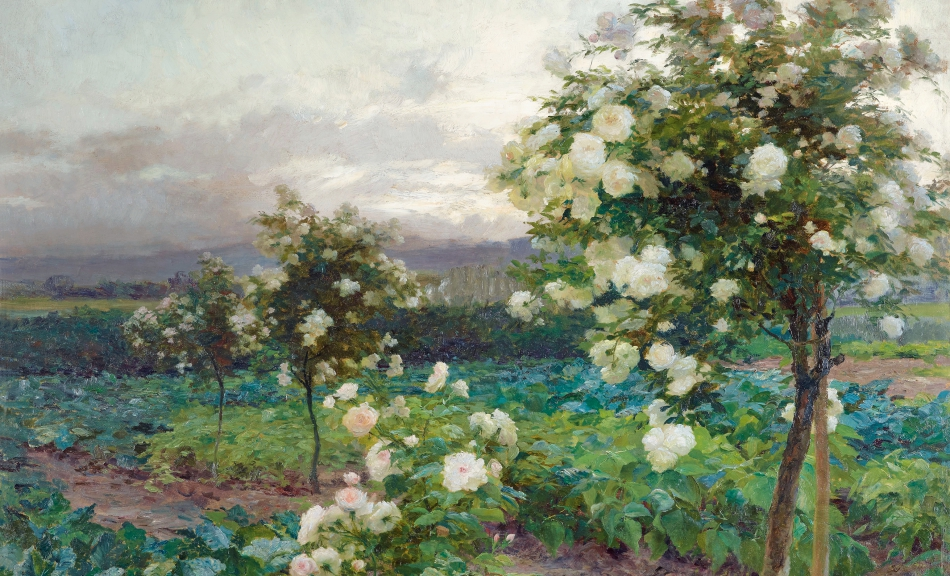 OLGA WISINGER-FLORIAN, Summer's Evening (Roses in Full Splendor), 1896 © Leopold Private Collection Photo: Leopold Museum, Vienna/Manfred Thumberger