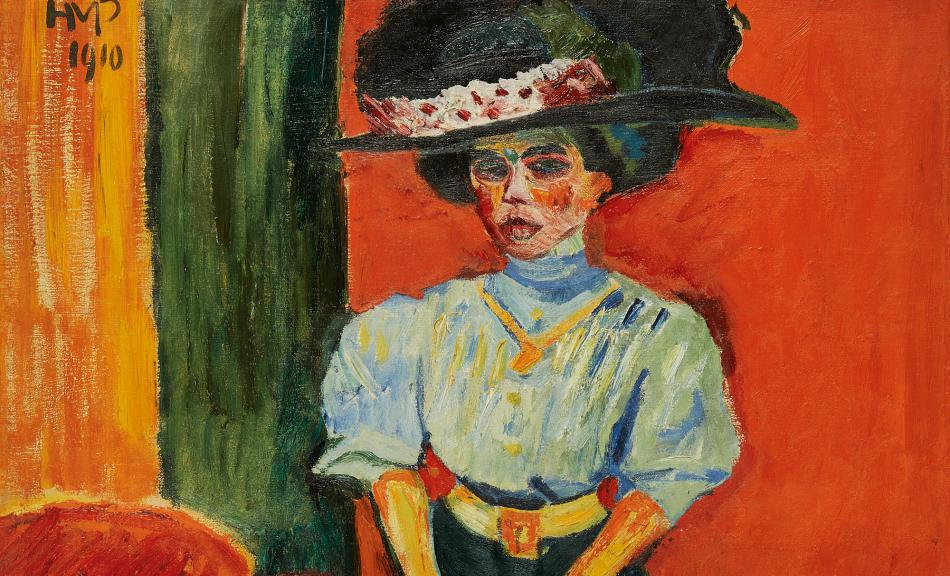Image result for Max Pechstein,  Lady with a Feathered Hat