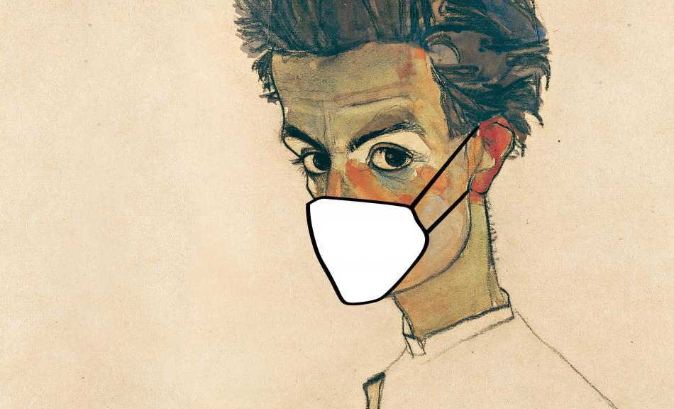 Schiele mit Maske Querformat © Leopold Museum, Wien 2020