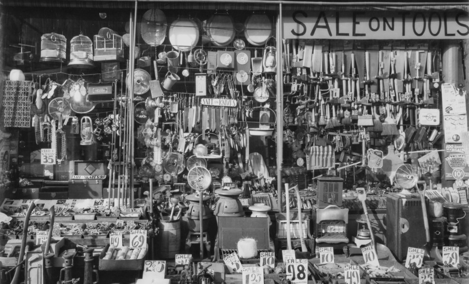 Berenice Abbott, Hardware Store Lower East Side, 316-318, Bowery, Bleecker Street, 1938 © Berenice Abbott / Commerce Graphics